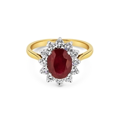 Claw Set Oval Ruby & Brilliant Cut Diamond Cluster Engagement Ring