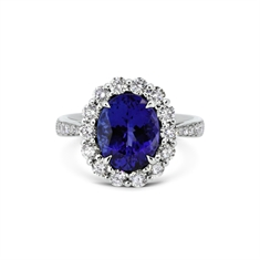 Oval Tanzanite & Brilliant Cut Diamond Cluster With Diamond Set Shoulders