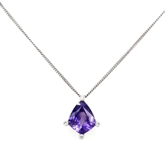 Purple Sapphire Kite Shape & Diamond Pendant