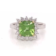 Cushion Cut Peridot & Diamond Claw Set Cluster Ring