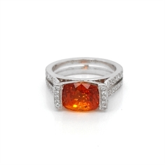 Orange Sapphire & Diamond Dress Ring