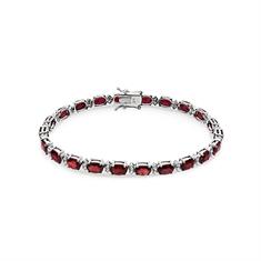 Oval Ruby & Brilliant Cut Diamond Line Bracelet
