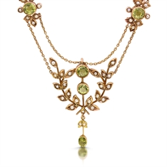 Victorian Peridot & Seed Pearl Necklace