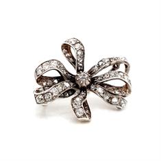 Victorian Diamond Set Ribbon Brooch