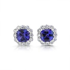 Claw Set Tanzanite Cushion Cut Cluster Stud Earrings