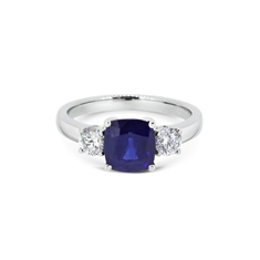 Cushion Cut Sapphire & Diamond Three Stone Ring