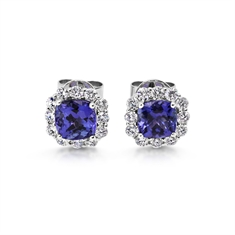 Tanzanite & Diamond Claw Set Cluster Earrings