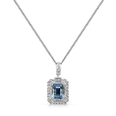 Octagon Aqua & Brilliant Cut Diamond Micro Set Double Cluster Pendant