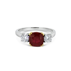 Cushion Cut Ruby & Brilliant Cut Diamond Three Stone Ring