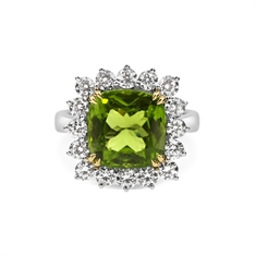 Cushion Cut Peridot & Brilliant Cut Diamond Cluster Dress Ring