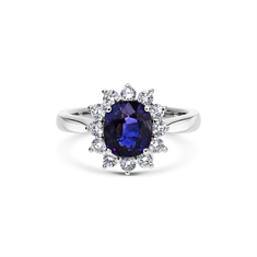 Claw Set Oval Sapphire & Brilliant Cut Diamond Cluster Ring