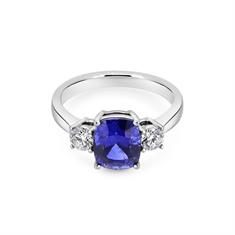 Cushion Cut Sapphire & Diamond Claw Set Three Stone Engagement Ring
