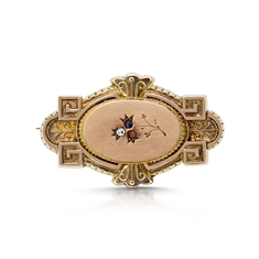 Victorian Gold Gem Set Brooch