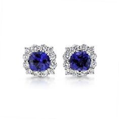 Tanzanite Cushion Cut Claw Set Cluster Stud Earrings