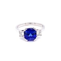 Tanzanite Cushion Cut & Princess Cut Diamond Three Stone Ring