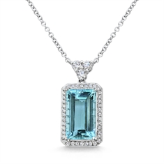 Octagon Aquamarine & Brilliant Cut Diamond Cluster Pendant With Trefoil Bail