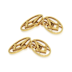 Masonic 9ct Yellow Gold Oval Shaped Cufflinks