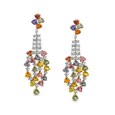Multi Coloured Sapphire & Diamond Cascade Drop Earrings