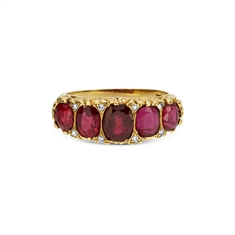 Victorian Ruby Carved Half Hoop