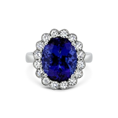 Tanzanite Oval & Diamond Rub-Over Set Cluster Ring