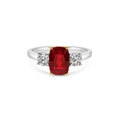 Cushion Cut Ruby & Brilliant Cut Diamond Three Stone Engagement Ring