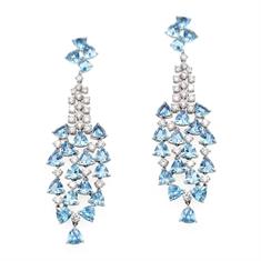 Aqua Diamond Cascade Drop Earrings