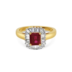 Ruby Octagon & Baguette Cut Ballerina Cluster Ring