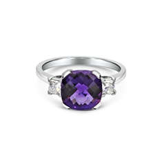 Chequer-Board Amethyst & French Cut Diamond 3 Stone