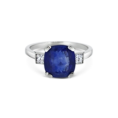Sapphire Cushion Cut Single Stone With Princess Cut Diamond Shoulders