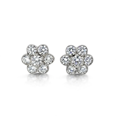 Brilliant Cut Grain Set Diamond Cluster Studs
