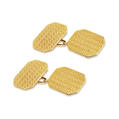 Antique Engraved Cufflinks 9ct Yellow Gold