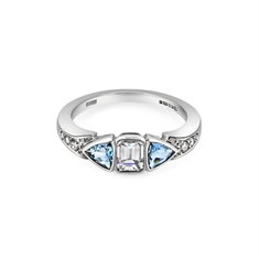 Emerald Cut Diamond & Aqua Trilliant Cut Engagement Ring