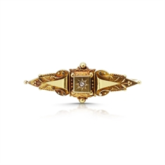 Intricate Victorian Diamond Set Bar Brooch