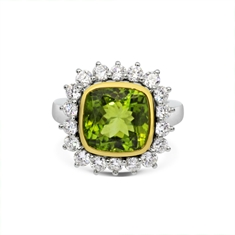 Cushion Peridot Cut Rub-Over Set Cluster Ring
