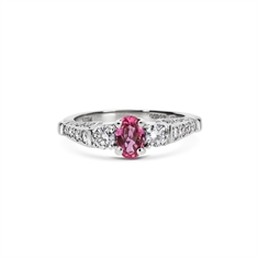 Oval Pink Sapphire Engagement Ring With Diamond Set Shoulders