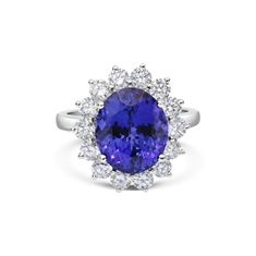Claw Set Oval Tanzanite & Brilliant Cut Diamond Cluster Ring