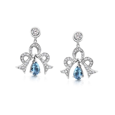 Aqua & Diamond Bow Drop Earrings