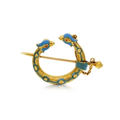 Enamel & Gold Celtic Crescent Bird Brooch