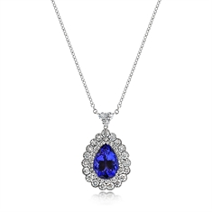 Pear Shaped Tanzanite & Brilliant Cut Double Cluster Pendant