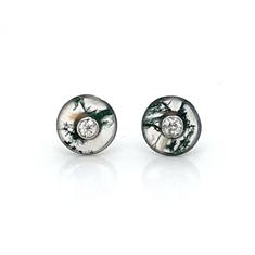 Moss Agate & Diamond Stud Earrings