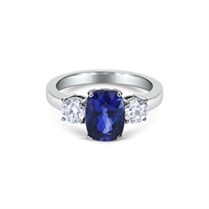 Cushion Cut Sapphire & Brilliant Cut Diamond Claw Set 3 Stone
