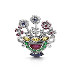 Multi Gem Set & Diamond Flower Basket Brooch