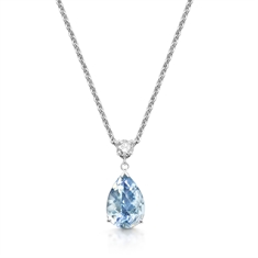 Pear Shape Aqua & Brilliant Cut Diamond Drop Pendant