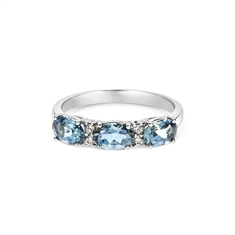 Claw Set Aqua Diamond Alternate Half Eternity Ring