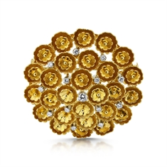 Gold & Diamond Floral Circle Brooch