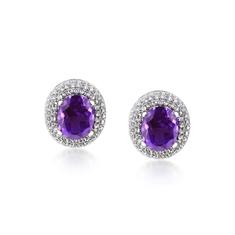 Amethyst & Diamond Domed Cluster Stud Earrings