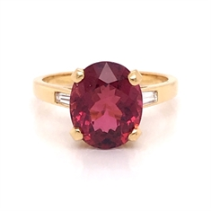 Oval Pink Tourmaline & Tapered Baguette Cut Single Stone