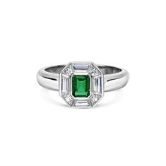 Emerald & Trapeze Cut Diamond Cluster Ring