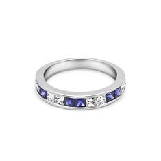 French Cut Sapphire & Diamond Half Eternity Ring