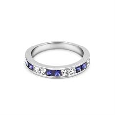 French Cut Sapphire & Diamond Half Eternity Ring
